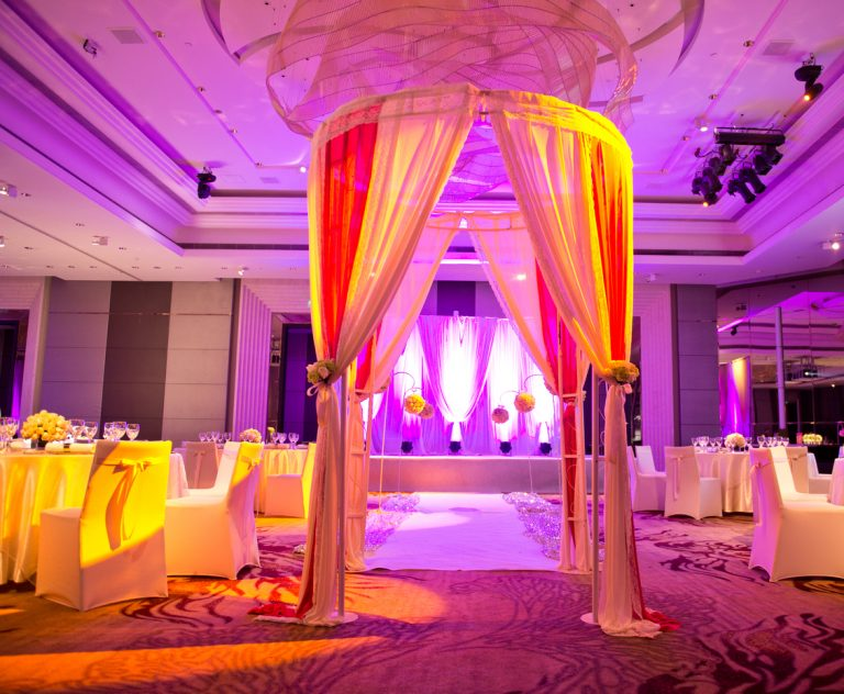 Interior of  a indoor wedding reception hall.